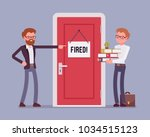 fired office worker and boss.... | Shutterstock .eps vector #1034515123