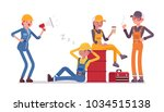 lazy workers resting. group of... | Shutterstock .eps vector #1034515138
