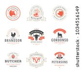 butcher shop logos set vector... | Shutterstock .eps vector #1034516149