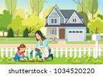 woman and girl  mother and... | Shutterstock .eps vector #1034520220