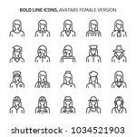 female avatars  bold line icons.... | Shutterstock .eps vector #1034521903