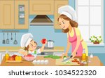mother and kid girl preparing... | Shutterstock .eps vector #1034522320