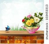 flowerpot with roses | Shutterstock .eps vector #103453313