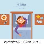 sick girl in bed with the... | Shutterstock .eps vector #1034533750