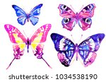 beautiful pink butterfly...   Shutterstock . vector #1034538190