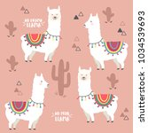 cute white llama  alpaca and... | Shutterstock .eps vector #1034539693