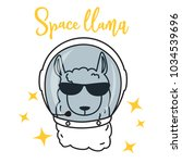 cute llama in space. cartoon... | Shutterstock .eps vector #1034539696