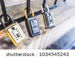 Closeup of three hanging locks...