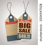 cardboard price tag or big sale ... | Shutterstock .eps vector #1034547028