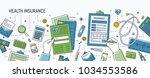 horizontal banner with hands... | Shutterstock .eps vector #1034553586