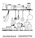 various kitchen utensils for... | Shutterstock .eps vector #1034555794