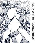 zen tangle abstract hand draw ... | Shutterstock .eps vector #1034557246