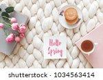 cup of tea  cookies  pink rose... | Shutterstock . vector #1034563414