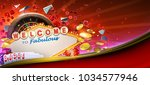 Casino games banner design with 3D rendered roulette wheel, falling playing cards, rolling red craps dices, poker gambling chips, golden coins and Las Vegas style casino neon sign - stock photo