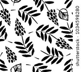 botanical seamless pattern with ... | Shutterstock .eps vector #1034598280