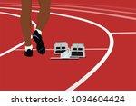 runner athlete and starting... | Shutterstock .eps vector #1034604424