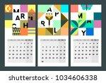 spring calendar for 2018 in... | Shutterstock .eps vector #1034606338