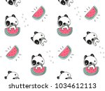 seamless pattern  cute baby... | Shutterstock .eps vector #1034612113