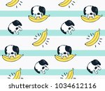 seamless pattern  cute baby dog ... | Shutterstock .eps vector #1034612116