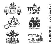 grill and bbq labels isolated... | Shutterstock .eps vector #1034612524
