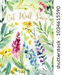 watercolor flower sympathy card | Shutterstock . vector #1034615590