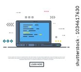 laptop with programming... | Shutterstock .eps vector #1034617630