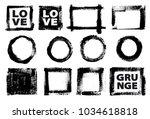 set of black ink vector stains | Shutterstock .eps vector #1034618818