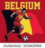 soccer player of belgium | Shutterstock .eps vector #1034620984