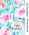 printable birthday card... | Shutterstock . vector #1034622154