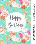 watercolor flowers card with... | Shutterstock . vector #1034623120