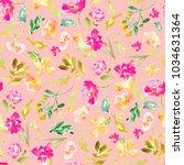 cute pink floral pattern... | Shutterstock . vector #1034631364