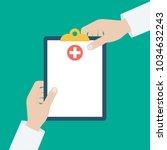 clipboard in his hand doctor.... | Shutterstock .eps vector #1034632243