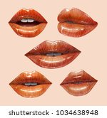 sensual juicy lips collection....   Shutterstock .eps vector #1034638948