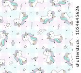 cute unicorn vector pattern | Shutterstock .eps vector #1034645626