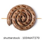 grilled sausages isolated on... | Shutterstock . vector #1034647270
