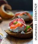 salmon  cream cheese  and blood ... | Shutterstock . vector #1034647429
