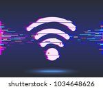 wi fi icon glitch design ... | Shutterstock .eps vector #1034648626