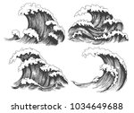 sea waves sketch. ocean wave... | Shutterstock .eps vector #1034649688
