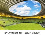 GDANSK, POLAND - FEBRUARY 4: Newly built PGE Arena stadium for 43,615 spectators. The stadium was built specifically for the Euro 2012 Championship. February 4, 2012 in Gdansk, Poland. - stock photo