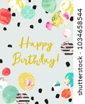 cute printable happy birthday... | Shutterstock . vector #1034658544