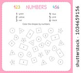 color the shapes by numbers.... | Shutterstock .eps vector #1034659156