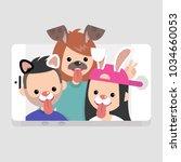 millennials wearing animal... | Shutterstock .eps vector #1034660053