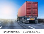white truck on highway road... | Shutterstock . vector #1034663713