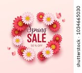spring sale background with... | Shutterstock .eps vector #1034665030