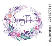 spring time wording with hand...   Shutterstock .eps vector #1034677564