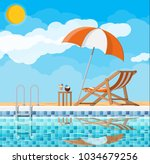 swimming pool and ladder.... | Shutterstock .eps vector #1034679256