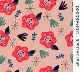 seamless pattern with floral... | Shutterstock .eps vector #1034680300