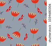seamless pattern with floral... | Shutterstock .eps vector #1034680306