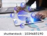 mentoring on the virtual screen.... | Shutterstock . vector #1034685190