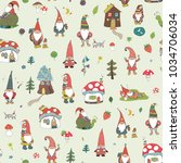 fairytale fantastic gnome dwarf ... | Shutterstock . vector #1034706034